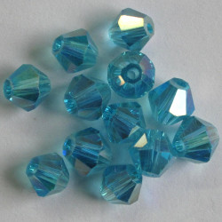 CR6653 - 6mm Crystal Bicone. Turquoise Blue.