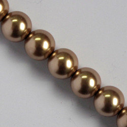 PL1011a - 10 mm Gold/Brown Glass Pearls.