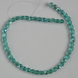 FP3004 - 3mm Czech Fire Polished Glass Beads, Teal AB.
