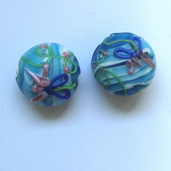 LW02 - Puff coin Turquoise blue lampwork bead. Pack of 2.