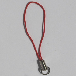F4220r - Mobile Phone Strap, Red and Silver Coloured.