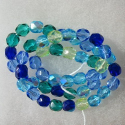 FP6391 - 6mm Czech Fire Polished Glass Beads Caribbean Mix. String of 50