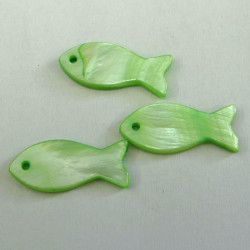 SHL1040 - Green Shell Fish. Pack of 3