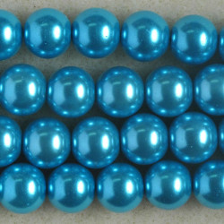 PL1065 - 10mm Glass Pearls, Turquoise Coloured.
