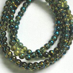 GB1861 - Long strand of 6mm green glass beads.