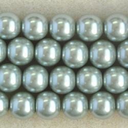 PL1219 - 12mm Glass Pearls, Soft Moss Green Coloured.