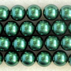 PL1241 - 12mm Glass Pearls, Dark Green Coloured.