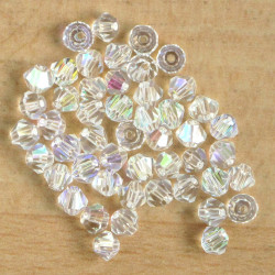 CR4429 - 4mm Crystal Bicone, Clear AB, Pack of 50.