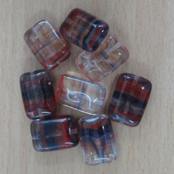 SALE28 - Hurricane glass rectagular beads. Pack of 10
