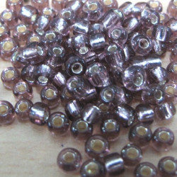 SALE45 - Size 8 silver lined amethyst purple seed beads. 20g