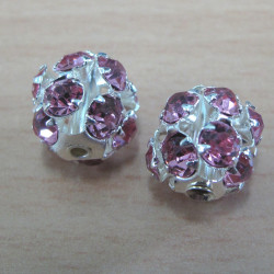 RN1046 - Diamante beads, pink. Pack of 2.