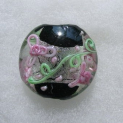 LW05b - Large Coin Shape Bead. Silverfoiled and black in centre with pink and green decoration