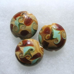 LW08 - Brown and Green Art Glass Coin Bead. Swirly Design.