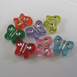 SALE94 - Small butterfly beads with sparkle. Pack of 20