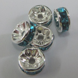 RN8560 - Turquoise blue 8mm silver col rondelles.