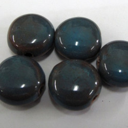 PC0022 - Porcelain coin beads, grey. Pack of 7.