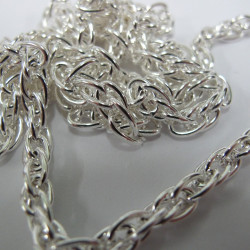 CH1607 -  Double Link Chain, Silver col, 1m