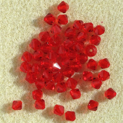 CR4412 - 4 mm Crystal Bicone, Red. Pack of 50.