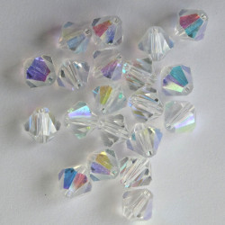 CR8829 - 8 mm Crystal Bicone, Clear AB, Pack of 20.
