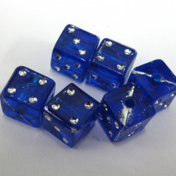 SALE136 - Blue dice beads. Pack of 20
