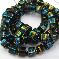 GB1870 - Long string of black festival cube beads.