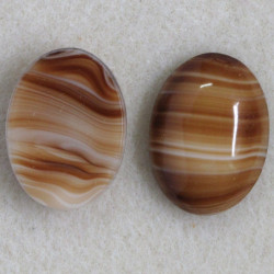 SALE199 - Brown Striped, Oval Glass Cabochon.