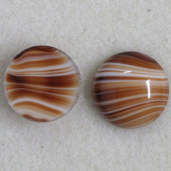 SALE200 - Brown Striped, Round Glass Cabochon.