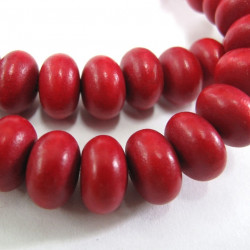 Strand of dark red rondelle wooden beads