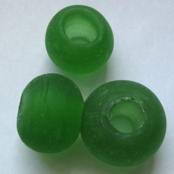 Huge frosted green glass bead. Pack of 3