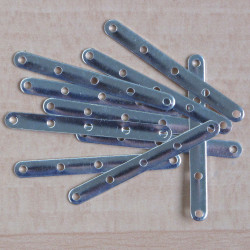 Silver coloured, five hole spacer bar.