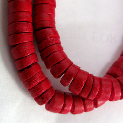 Coco wood red disc beads. Per strand