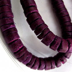 Coco wood purple disc beads. Per strand