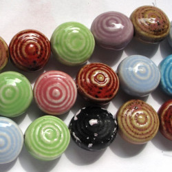 Porcelain disc beads. String of 10