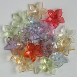 5 petal, translucent, lucite flowers, mixed colours.