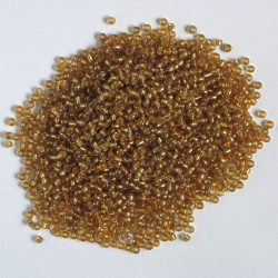 Size 8, silver lined, glass seed beads, gold.