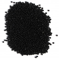 Size 8, glass seed beads, black.