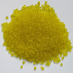 Size 8, glass seed beads, translucent yellow.