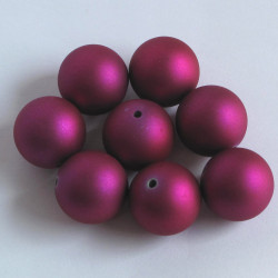 Soft touch acrylic beads, 18mm, fuchsia.