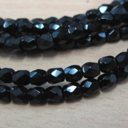 FP3010 - 3mm jet black fire polished beads, pack of 100