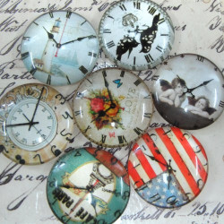 CAB251 - Clock face glass cabs 25mm. Pk of 5