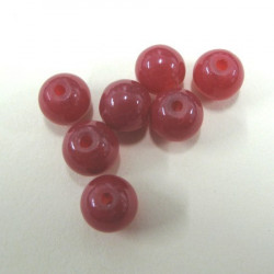 9mm red glass beads, pack of approx 49 per pack