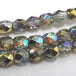 4mm fire polished crystal golden rainbow, strand of 40 beads