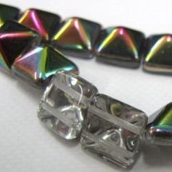 12mm pyramid beads, clear with AB top. Strand of 12