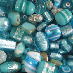 Pack of mixed Indian glass beads, pale blue.