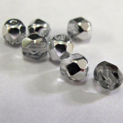 50g bargain pack of silver colour fire polished beads