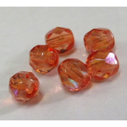 50g of 6mm orange AB fire polished Czech glass beads