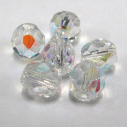 50g pack of 8mm crystal clear AB Czech fire polished beads