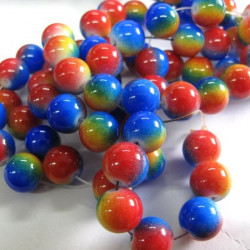 Long strand of multi colour glass beads