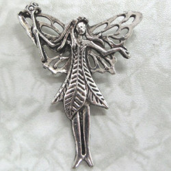 Large fairy pendant, antique silver colour. Per pair