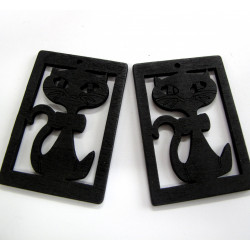 Black cat wood pendants